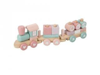 Játékvonat építőelemekkel, Little Dutch fa szerepjáték, rózsaszín (4416, 1-4 év)