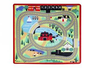 Játszószőnyeg, Autós (MD, 9400, 4 db fa autóval, 100x90 cm, 2-8 év)