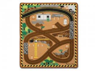 Játszószőnyeg, Építkezés (MD, 9407, 3 db fa járművel, 100x90 cm, 2-8 év)