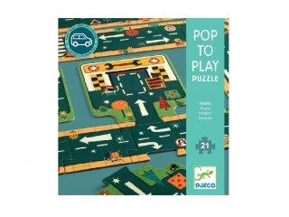 Játszószőnyeg puzzle Utak, Djeco 21 db-os óriás kirakó - 7162 (3-5 év)