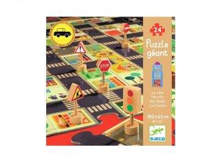 Játszószőnyeg puzzle, Város (Djeco, 7161, 24 db-os óriás puzzle, 3-5 év)