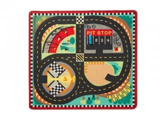 Játszószőnyeg, Versenyautó pálya (MD, 9401, 4 db fa autóval, 100x90 cm, 2-8 év)