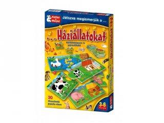 Játszva megismerjük a háziállatokat (Keller & Mayer, beszéltetős, 10 féle 3 db-os párosító puzzle, 3-5 év)