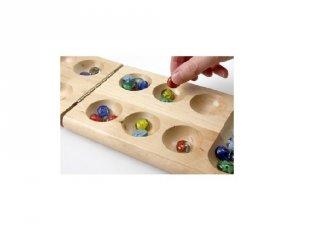 Kalaha, fa logikai játék üveg kövekkel  (Mancala, kétszemélyes stratégiai társasjáték, 8-99 év)