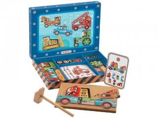 Kalapálós képalkotó játék, Járművek (Djeco, 6641, kreatív építőjáték, 3-7 év)
