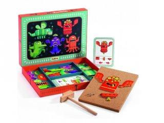 Kalapálós képalkotó játék, Szörnyek (Djeco, 6640, kreatív építőjáték, 3-7 év)