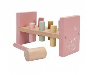 Kalapálós Little Dutch fa készségfejlesztő bébijáték, pink (7025, 18 hó-3 év)