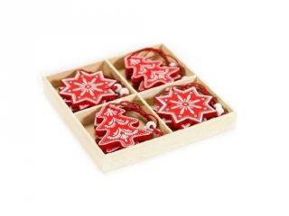 Karácsonyfadísz, Piros fenyő és hópihe (FP, 12 db-os karácsonyi dekoráció)
