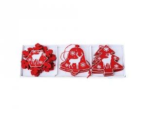 Karácsonyfadísz, Piros fenyő, harang, hópihe (FP, 12 db-os karácsonyi dekoráció)