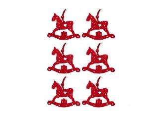 Karácsonyfadísz, Piros hintaló (FP, 6 db-os karácsonyi dekoráció)