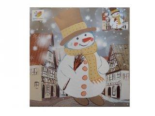 Karácsonyi mozaikkép készítő, Hóember (kreatív játék, 3-8 év)