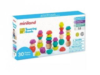 Kavicsos toronyépítő, egyensúlyozó játék, 30 db-os Miniland ECO fa készségfejlesztő játék (94051, 3-6 év)
