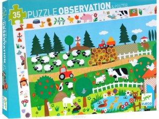 Képkereső puzzle, A farmon (Djeco, 7591, 35 db-os kirakó, 3-7 év)
