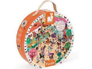 Képkereső puzzle bőröndben, galoppozó lovak (Janod, 208 db-os puzzle, 6-9 év)