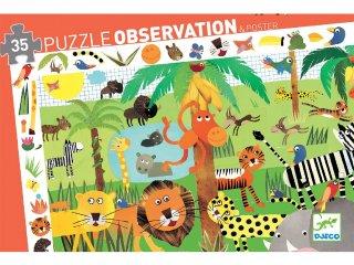 Képkereső puzzle, Dzsungel állatai (Djeco, 7590, 35 db-os kirakó, 3-7 év)