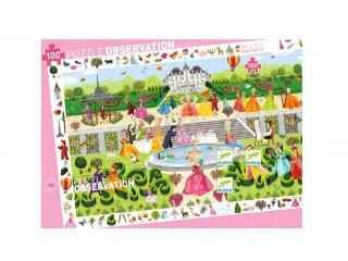 Képkereső puzzle, Hercegnők a parkban (Djeco, 7505, 100 db-os kirakó, 5-12 év)