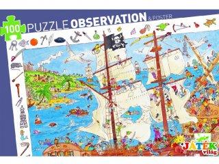 Képkereső puzzle, Kalózhajó (Djeco, 7506, 100 db-os kirakó, 5-12 év)