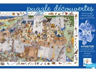 Képkereső puzzle, Lovagvár (Djeco, 7503, 100 db-os kirakó, 5-12 év)