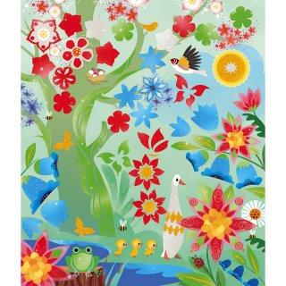 Képkészítés gyöngyház festékkel és stencilekkel 4 évszak, Janod kreatív szett (7952, 7-12 év)