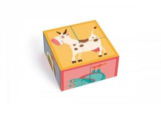 Képkirakó kocka farm, készségfejlesztő bébijáték (Scratch, 1-3év)