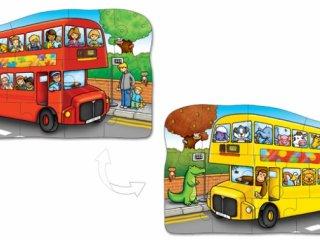 Kétoldalas puzzle: Emeletes busz (Orchard, little bus, 12 db-os kétoldalas puzzle, 2-5 év)