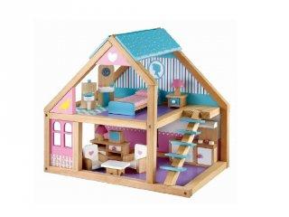 Kicsi babaház kék-lila színű (FP, fa szerepjáték, 3-6 év)