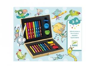 Kicsik színes rajzkészlete díszdobozban, Djeco minőségi kreatív játék - 9010 (18 hó-6 év)