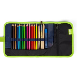 Kihajtós tolltartó Wrap, Ergobag iskolaszer, kék kockás (6-14 év, töltetlen)
