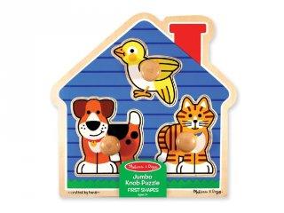 Kis kedvencek, puzzle fogantyúval, fa készségfejlesztő játék (MD, 12055, 1-3 év)