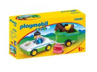 Kisautó lószállító pótkocsival kicsiknek, Playmobil szerepjáték (70181, 1,5-4 év)