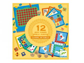 Klasszikus társasjáték gyűjtemény (Djeco, 5218, 12 db társasjáték, 4-99 év)