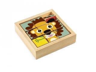 Kocka kirakó, állatos (Djeco, 1953, fa készségfejlesztő játék, 2-4 év)
