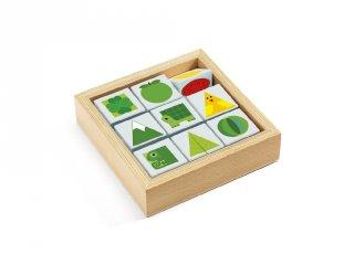 Kocka kirakó, színek és formák (Djeco, 6204, fa készségfejlesztő játék, 2-5 év)