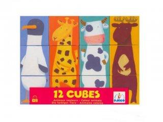 Kocka kirakó, Vidám állatos (Djeco, 8208, 16 féle állatos, 4x4 db-os fa puzzle, 2-5 év)