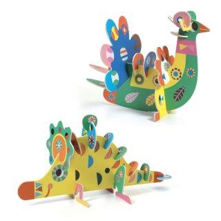 Kollázs műhely 3D állatok, Djeco kreatív szett - 8983 (3-6 év)