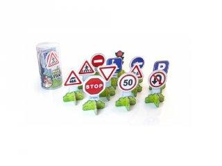 Közlekedési táblák, 12 db-os Miniland szerepjáték és oktató játék (27461)