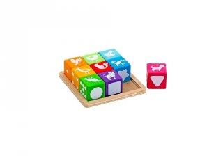 Kreatív kockakirakó, 9 db-os készségfejlesztő játék (2-6 év)