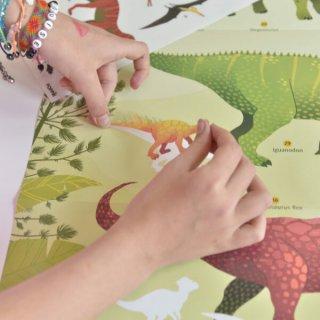 Kreatív óriásplakát készítés 32 db matricával, Dinoszaurusz (Poppik, 5-8 év)