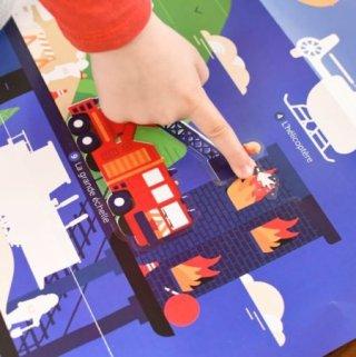 Kreatív óriásplakát készítés 44 db matricával, Járművek (Poppik, 3-7 év)