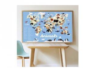 Kreatív óriásplakát készítés 67 db matricával, Világ állatai (Poppik, 5-10 év)