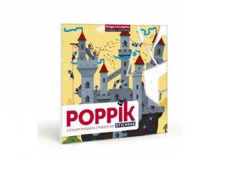 Kreatív poszter készítés 105 db puzzle matricával, Lovagok és sárkányok (Poppik, 5-7 év)