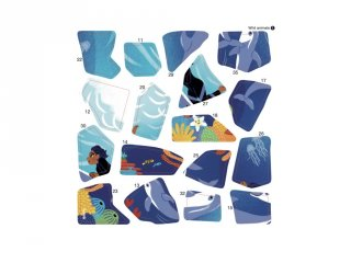 Kreatív poszter készítés 105 db puzzle matricával, Vadállatok (Poppik, 5-7 év)