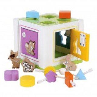 Kulcsos szortírozó doboz állatokkal, formákkal (2-5 év)