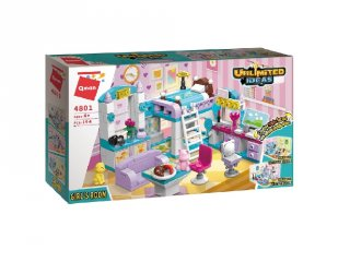 Lányszoba 3 variációban, Lego kompatibilis építőjáték készlet (QMAN, 4801, 6-12 év)
