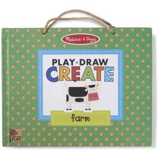 Letörölhető rajzoló és mágneses tábla Farm, Melissa&Doug kreatív szett (41325, 3-7 év)