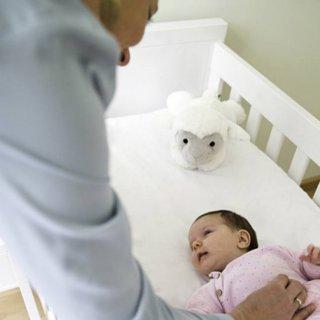 Liz zenélő, vigasztaló plüss bárány, babaszoba kiegészítő (ZA)