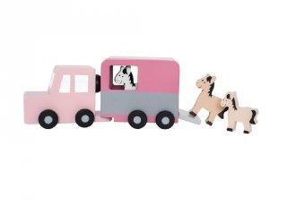 Lószállító autó pasztell rózsaszín, fa szerepjáték (Jabadabado, 2-6 év)