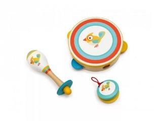 Madaras hangszerkészlet, 3 db-os fa gyerek hangszer (Scratch, 2-7 év)