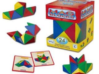 Mag Blocks 24 db-os, Mágneses tömbök (Popular, 24 db-os logikai, kreatív mágneses építőjáték, 4-99 év)