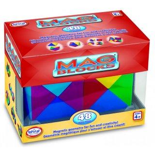 Mag Blocks 48 db-os, Mágneses tömbök (Popular, 2 x 24 db-os logikai, kreatív mágneses építőjáték, 4-99 év)